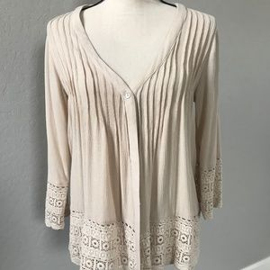 Lovestitch Ivory Top with Lace Trim